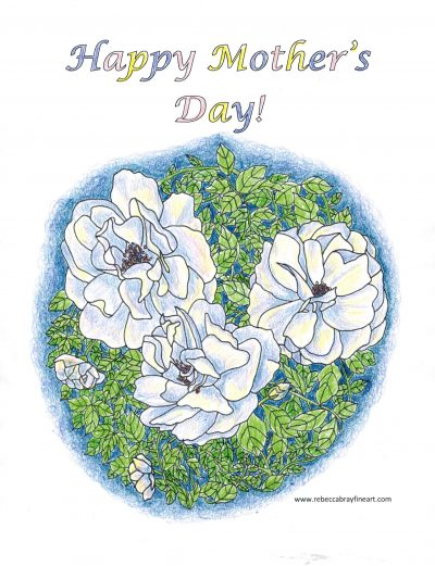 Mothers day coloring page - colored